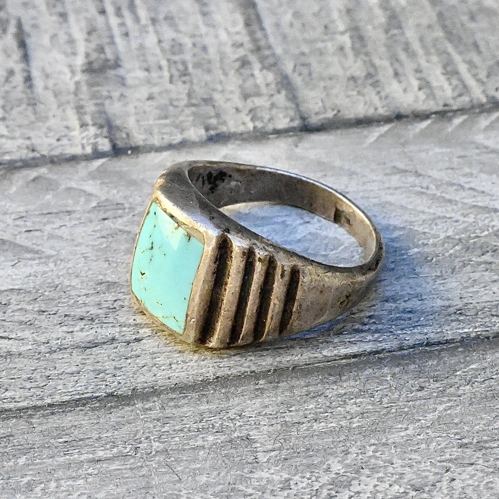 Mens Art Deco Turquoise Ring