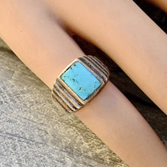 Deco Turquoise Ring Size 8