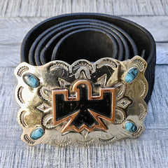 Bell Nickel Silver & Turquoise Belt Buckle