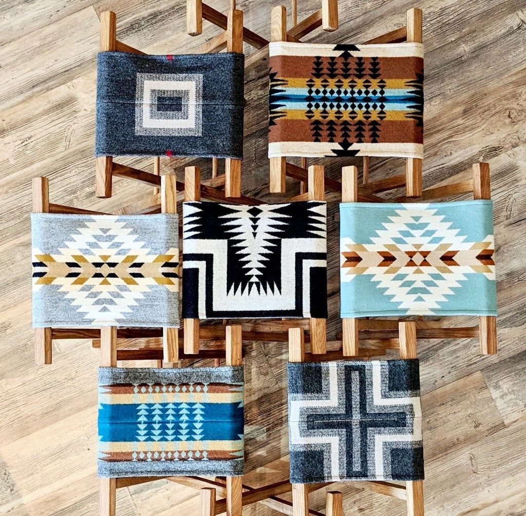 Pendleton blanket camp stool handmade oak wood