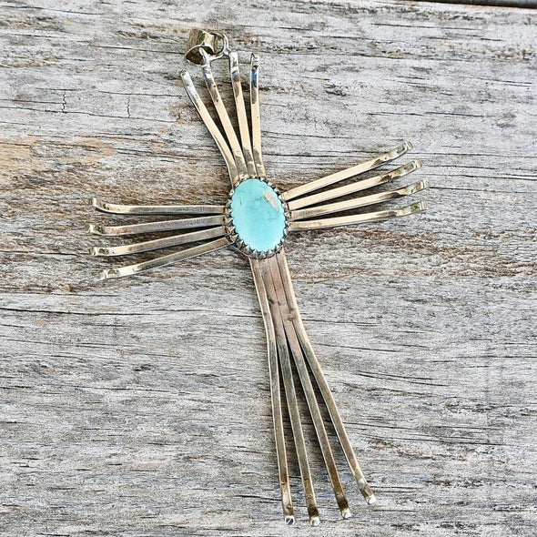 Vintage Kee Joe Benally Navajo Sterling Silver Cross Turquoise