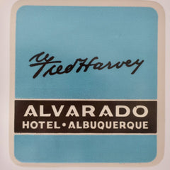 Fred Harvey hotel luggage label Alvarado New Mexico