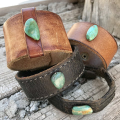 Recycled Leather & Turquoise Cuff Bracelet