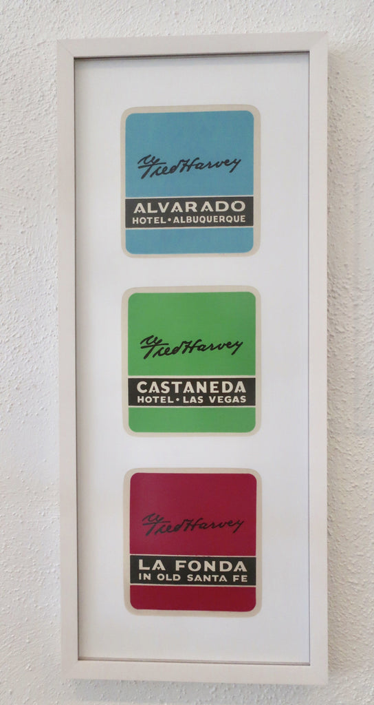 Fred Harvey hotel luggage label Alvarado Castaneda La Fonda