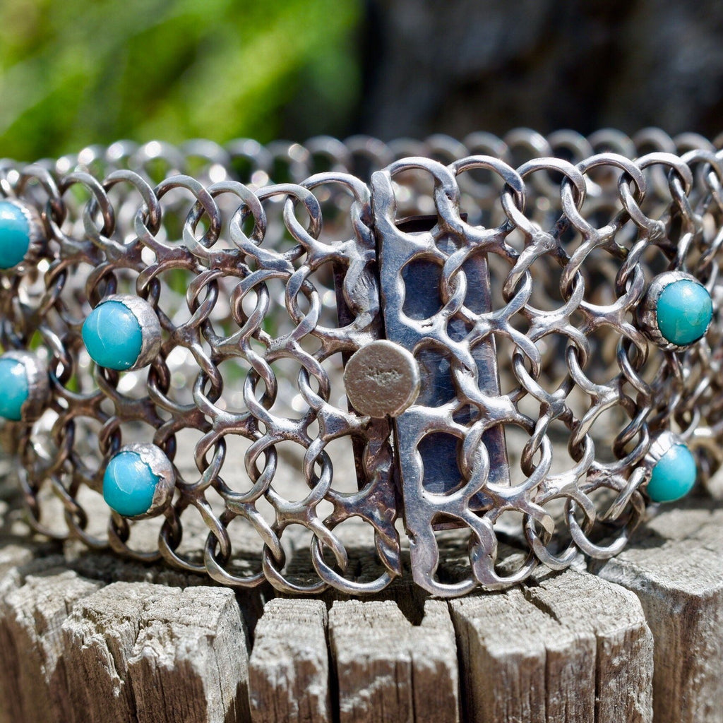 1940's Sterling Silver Flat Link Chain Bracelet Sleeping Beauty Turquoise Stones