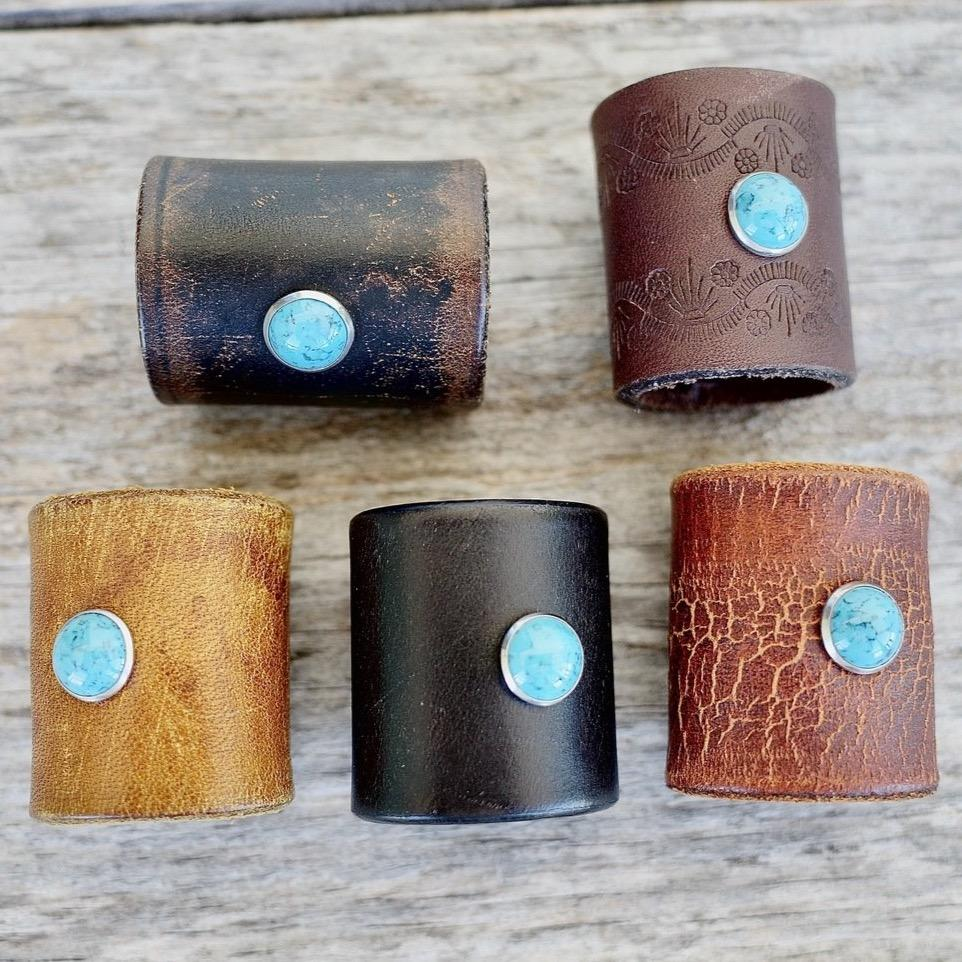 Leather & Turquoise Bandana Slide