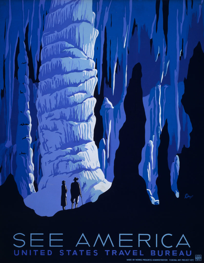 Carlsbad Caverns New Mexico Vintage travel poster See America