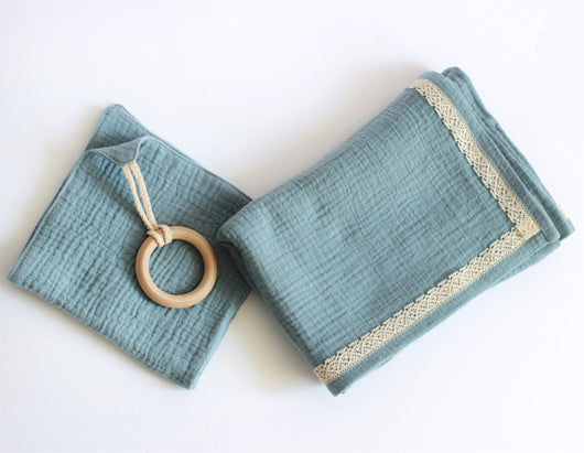 Double Gauze Blanket and Lovey Set in Aqua