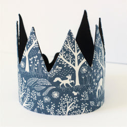 Fabric Crown - Woodland in Blue
