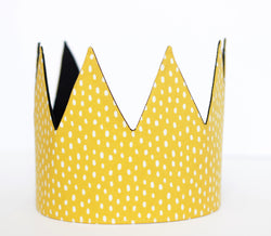 Fabric Crown - Yellow Dots