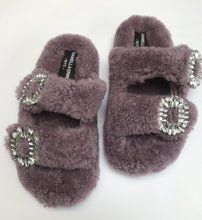 Shearling Slides with Crystal Buckles