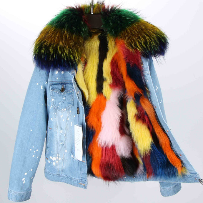 Distressed Denim Jacket with Rainbow Fur Lining and Collar