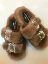 Genuine Mink Slides with Crystal Buckles