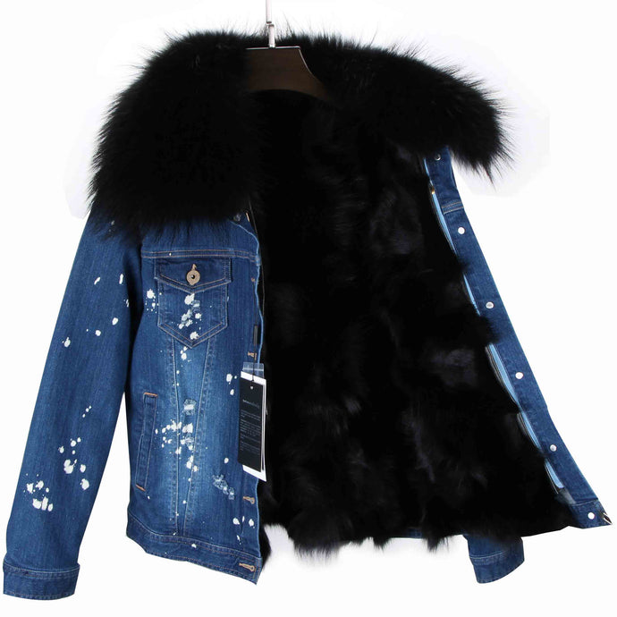 Distressed Dark Denim Jacket with Black Fur Lining and Collar