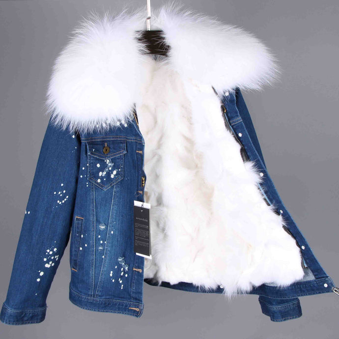 Distressed Dark Denim Jacket with White Fur Lining and Collar
