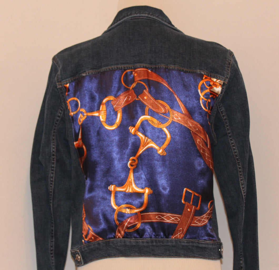 Dark Denim Jacket with Equestrian Scarf