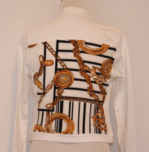 White Denim Jacket with Black and Gold Nautical Scarf