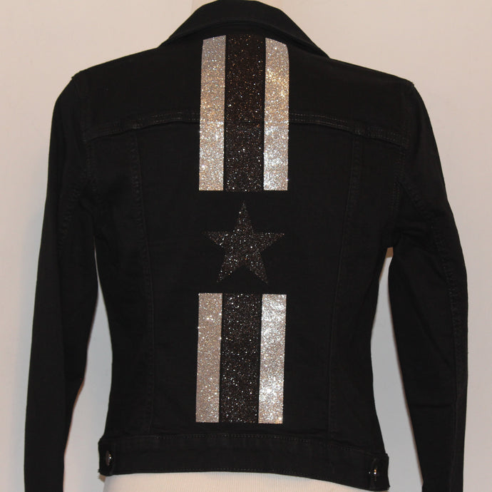 Black Denim Jacket with Glitter Stripes and Star