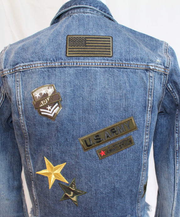 Denim Jacket with Army Themed Patches