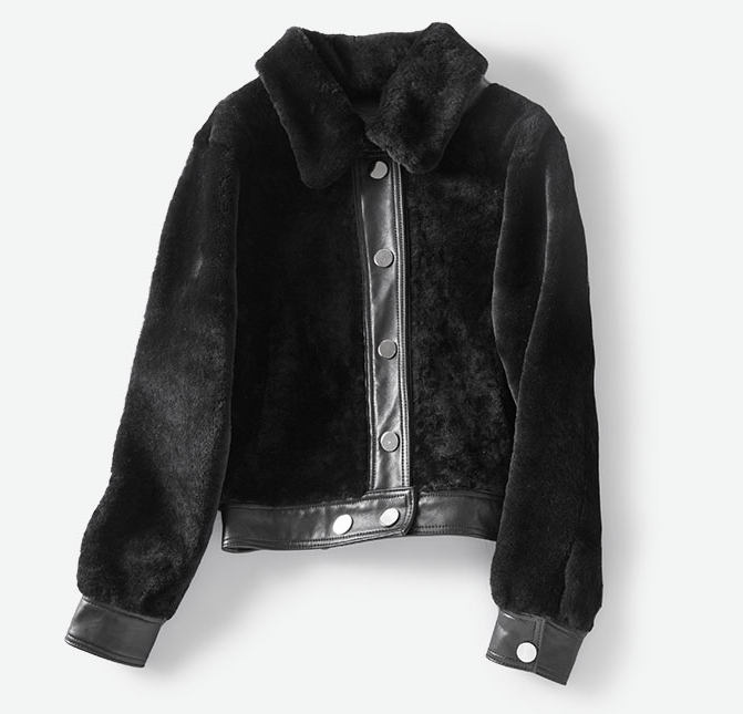 Women's Leather and Shearling Bomber Jacket in Black