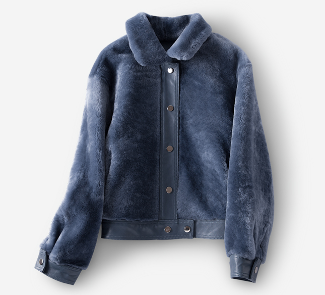 Women's Leather and Shearling Bomber Jacket in Blue