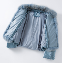 Metallic Puffer Jacket with Fox Fur