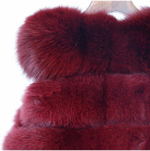 Fox Fur Vest in Burgundy