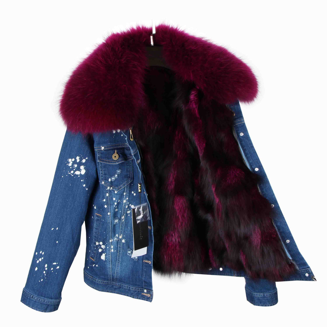Distressed Dark Denim Jacket with Maroon Fur Lining and Collar