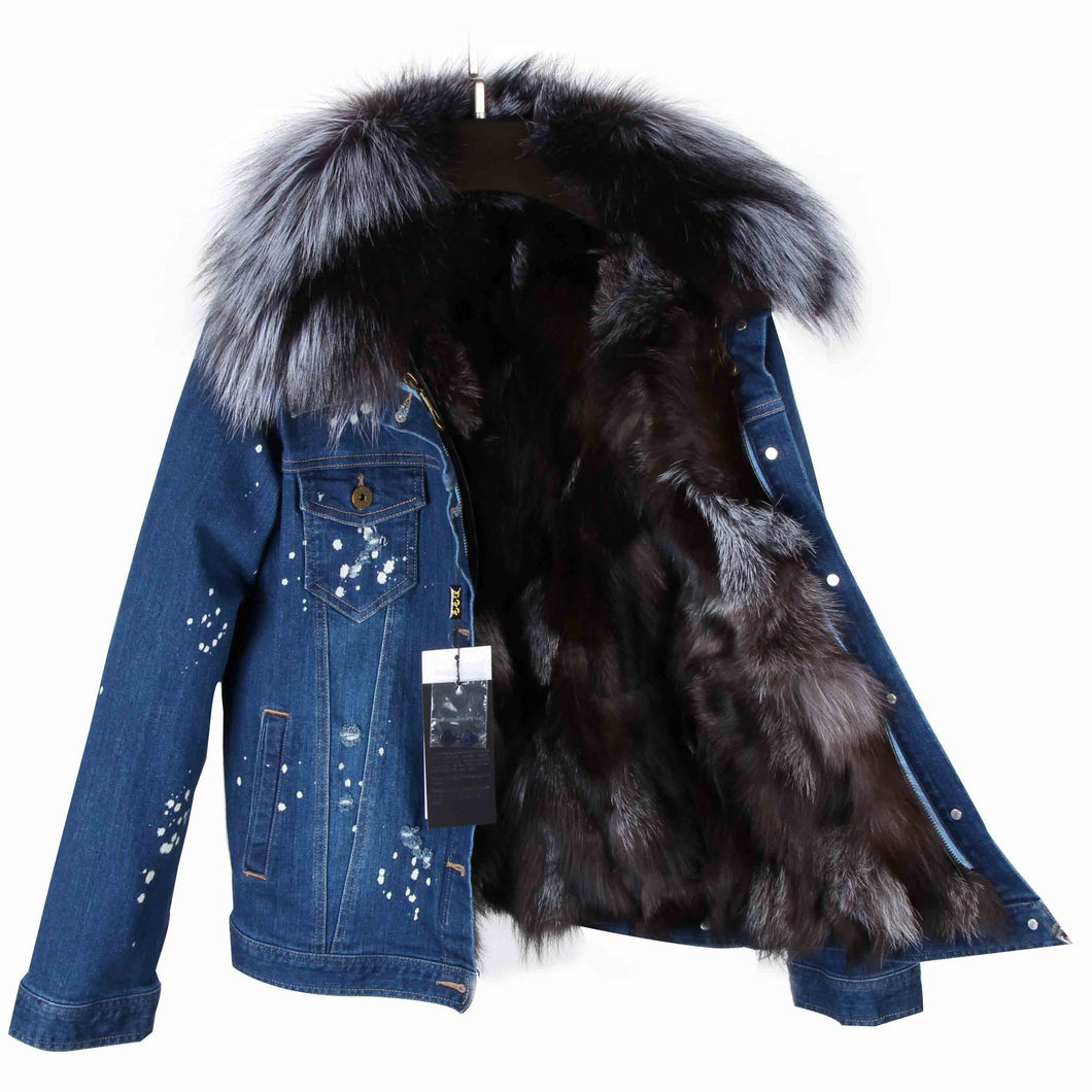Distressed Dark Denim Jacket with Gray Fur Lining and Collar