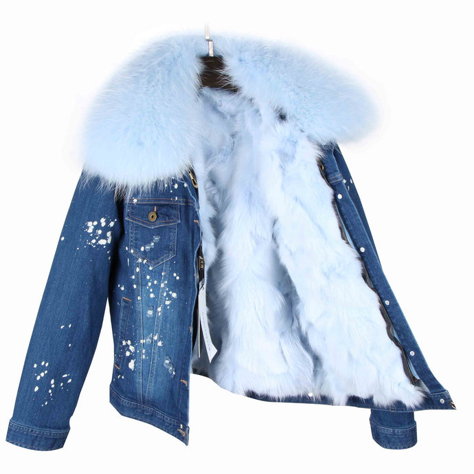 Distressed Dark Denim Jacket with Light Blue Fur Lining and Collar