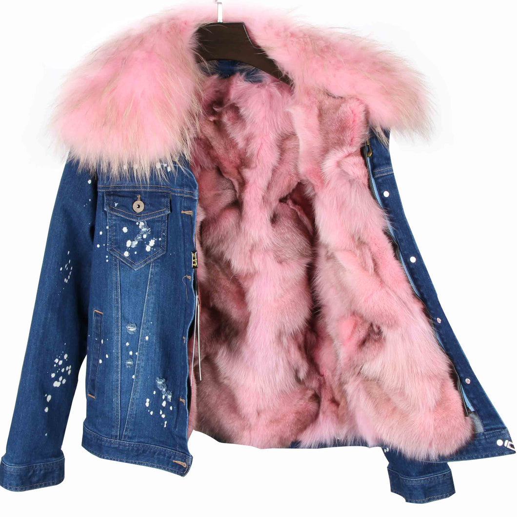 Distressed Dark Denim Jacket with Light Pink Fur Lining and Collar