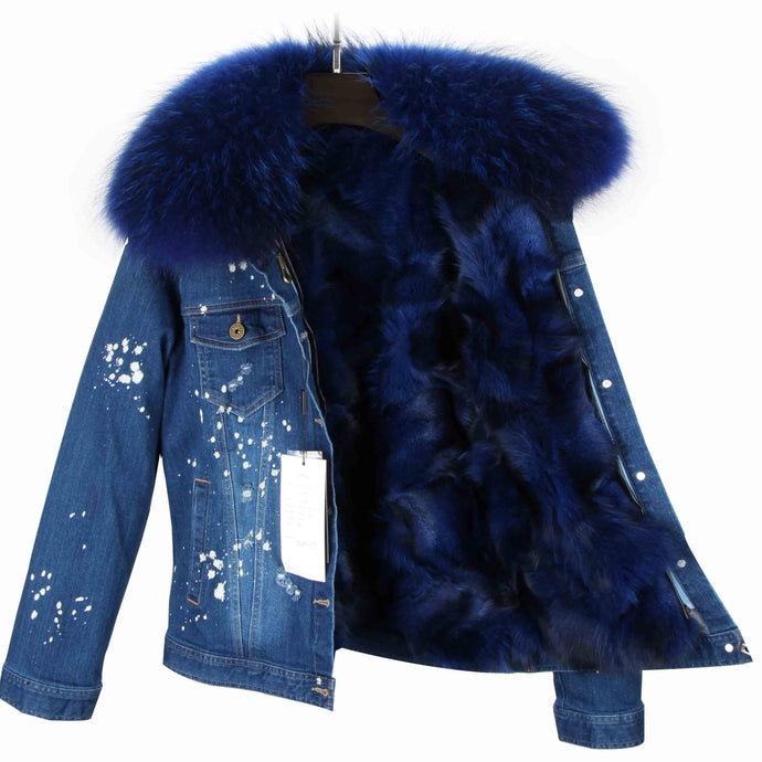 Distressed Dark Denim Jacket with Royal Blue Fur Lining and Collar