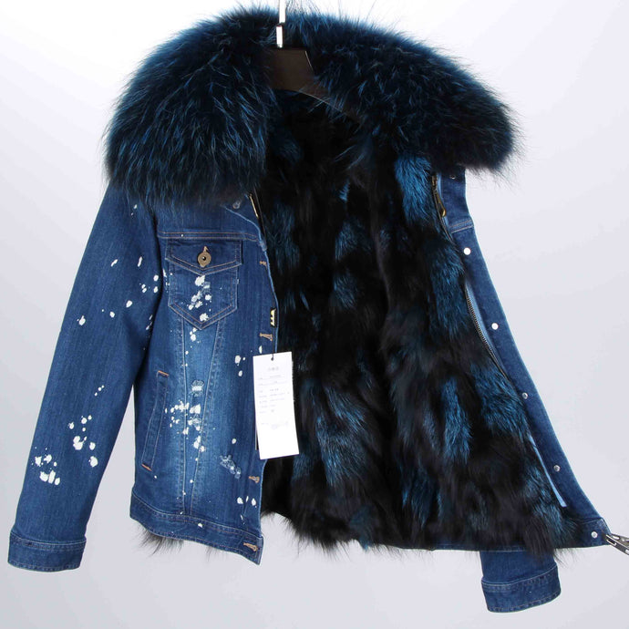Distressed Dark Denim Jacket with Teal Fur Lining and Collar