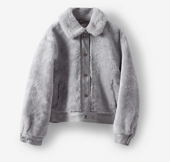 Women's Leather and Shearling Bomber Jacket in Gray