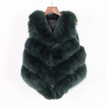 Fox Fur Vest in Hunter Green