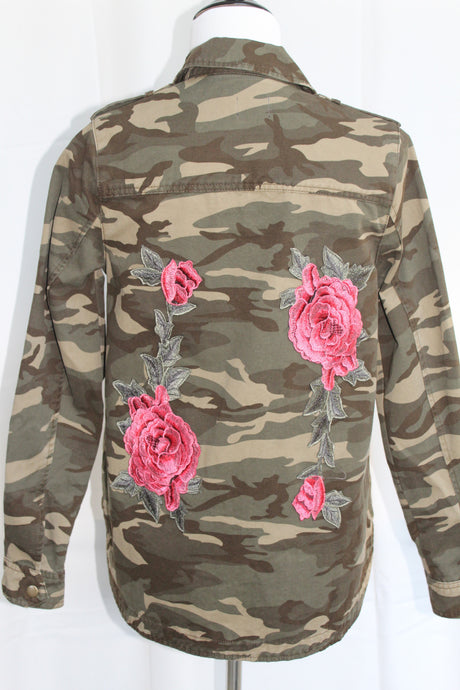 Camouflage Jacket with Roses