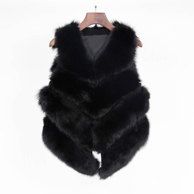 Fox Fur Vest in Black