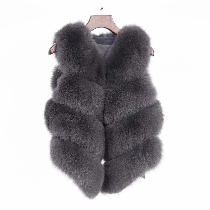 Fox Fur Vest in Gray