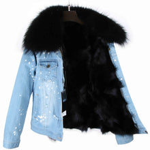 Distressed Denim Jacket with Black Fur Lining and Collar