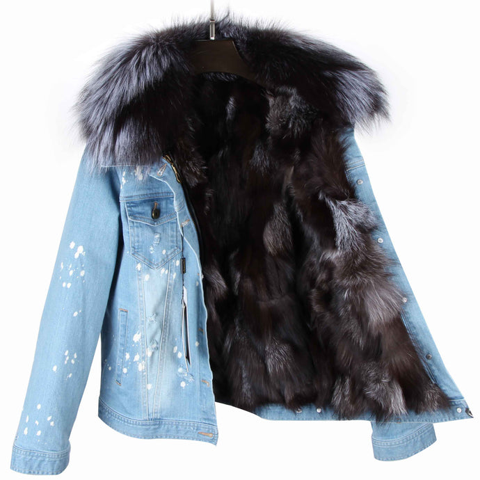 Distressed Denim Jacket with Gray Fur Lining and Collar