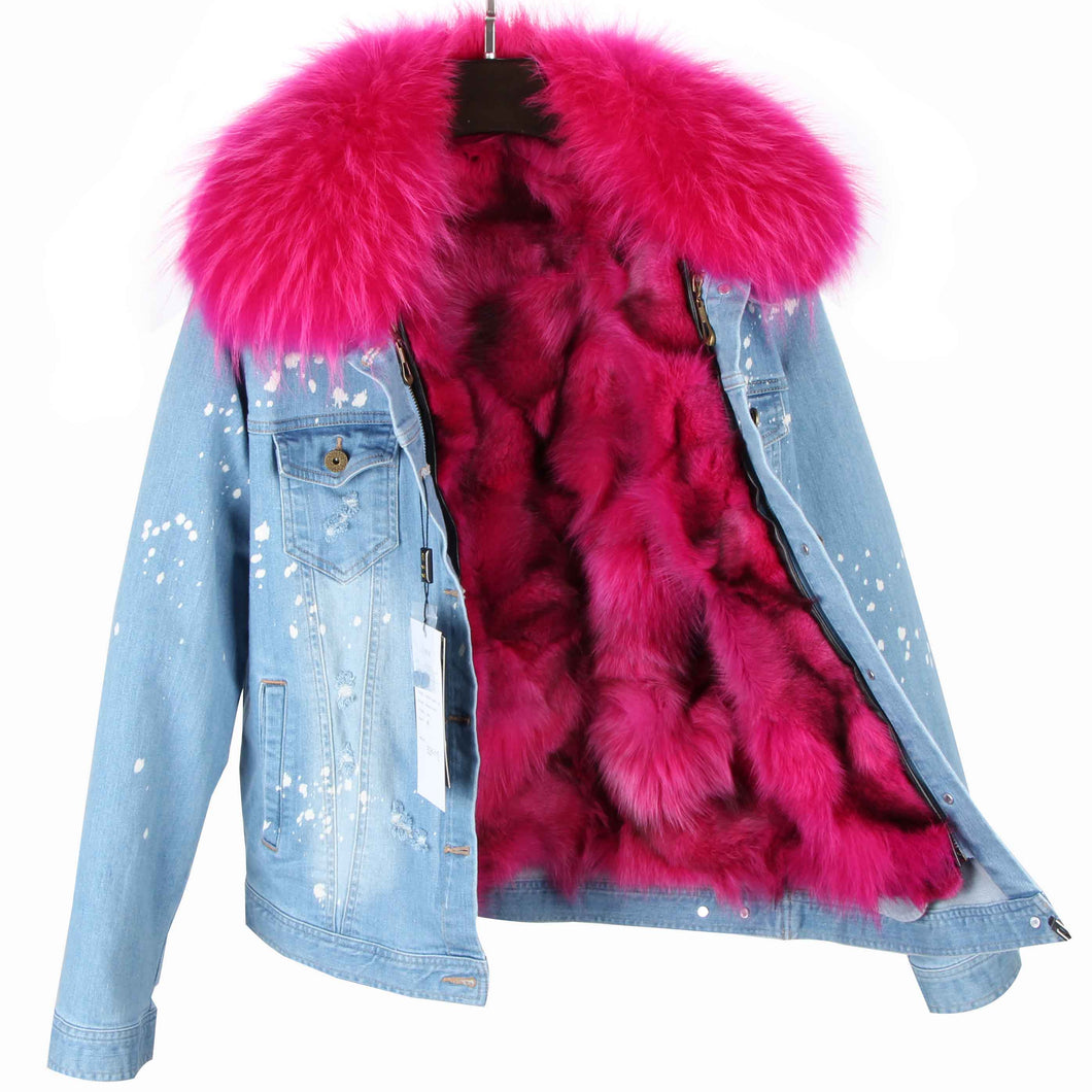buying new big discount good out x Distressed Denim Jacket with Hot Pink Fur Lining and Collar ...
