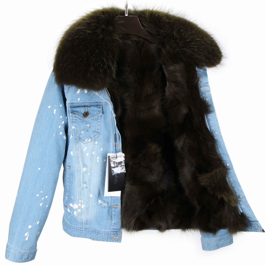 Distressed Denim Jacket with Hunter Green Fur Lining and Collar