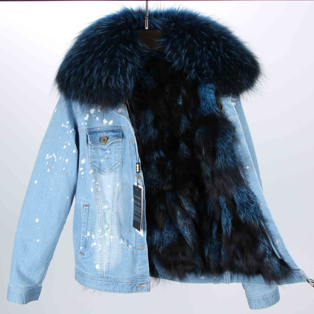 Distressed Denim Jacket with Teal Fur Lining and Collar
