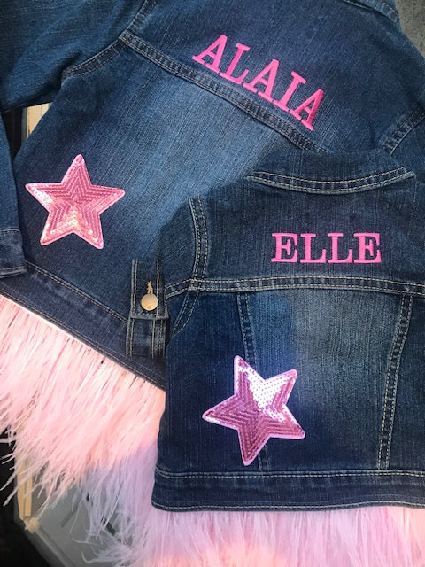 Girl's Personalized Denim Jacket with Feathers and Stars