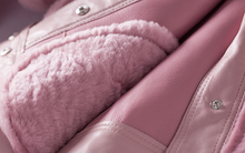 Women's Leather and Shearling Bomber Jacket in Pink
