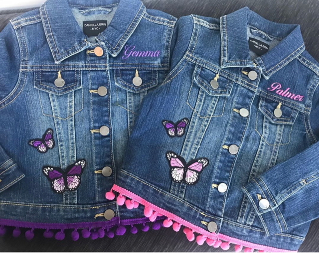 Girl's Personalized Denim Jacket with Pom Pom Trim and Butterflies