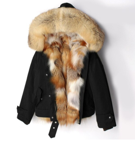 Women's Fox Fur Short Parka in Black