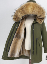 Women's Fur Lined Waterproof Long Parka in Army Green