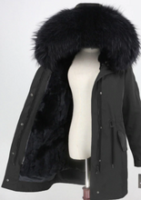 Women's Fur Lined Waterproof Long Parka in Black