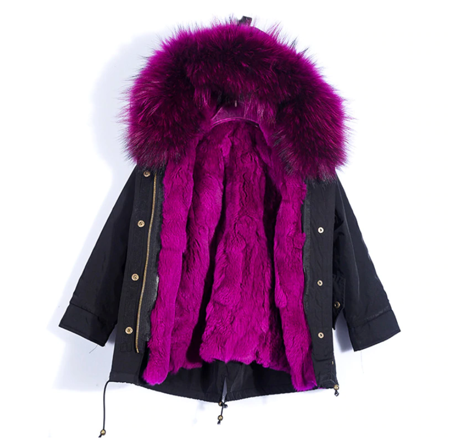 Children's Fur Lined Black Parka